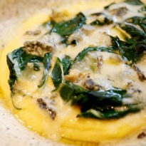 Angela Hartnett's chard with polenta and blue cheese recipe