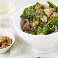 Dark Leafy Greens with Caramelized Onions, Raisins, and Maple Walnuts