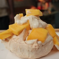 Drunken Snow White Meringue With Mango Recipe Ndtv Food
