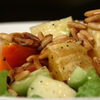Recipe of Green Salad with Pine Nuts and Honey Mustard Dressing