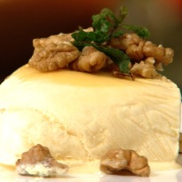 Honey Cream with Roasted Walnuts and Mint Leaves