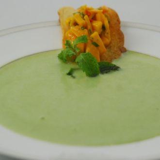Peas and Potato Soup with Salsa