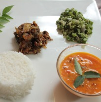 Lamb with Beans Thoran, Potato Curry and Rice