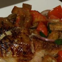 Roast Chicken, Potato Mash and Black Tomato Salad