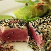 Seared Tuna with Baby Spinach and Avocado Recipe