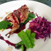 Smoked Quail Drizzled with Pomegranate Reduction