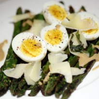 Angela Hartnett's char-grilled asparagus with soft boiled egg - recipe