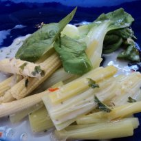 Bok Choy, Baby Corn and Leeks in a Coconut Emulsion