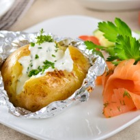 Baked Potatoes with Cream Cheese Dressing