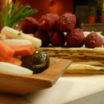 Beet and Arbi Falafal with Housemade Pickles