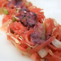 Recipe of Carrot Salad with Black Grape Dressing