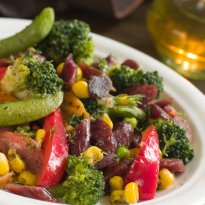 Charred Corn, Broccoli and Plum Salad