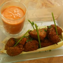 Corn Fritters with Roasted Bell Pepper Sauce