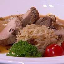 Recipe of Crispy Pan Seared Duck Breast with Citrus Caramel Sauce and Onion Pilaf