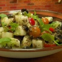 Cucumber, Black Olive and Mint Salad  Recipe
