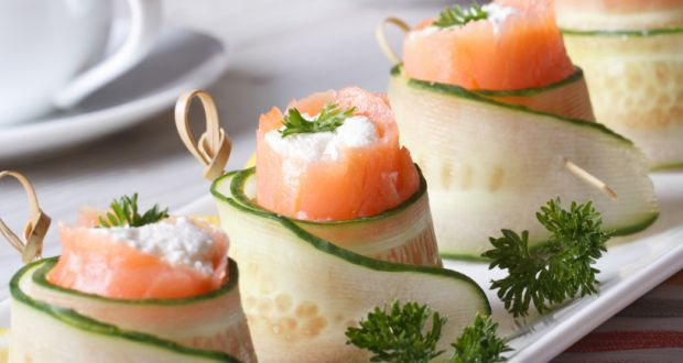 Recipe of Drunken Salmon Cucumber Rolls
