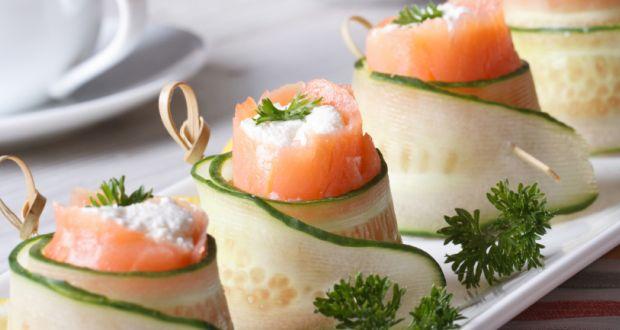 Drunken Salmon Cucumber Rolls