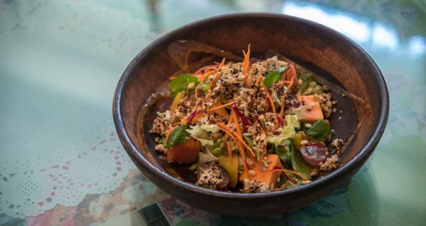Grilled Peach and Papaya Salad with Amaranth Granola