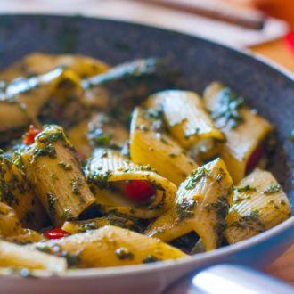 Pesto Penne Pasta with Smoked Chicken