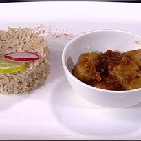 Jheenga Aloo Kofta with Tamarind Rice
