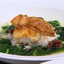 Recipe of Pan Seared Basa, Haaq Saag, Kashmiri Chilli Butter, Walnut Pulao