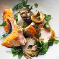 Nigel Slater's salmon with artichokes recipe