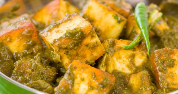 Recipe of Palak Paneer with White Kidney Beans