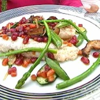 Recipe of Pan-Seared Grouper with Pomegranate and Vegetable Nage