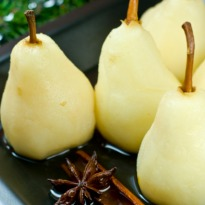 Pears in Saffron and Rose Syrup Recipe