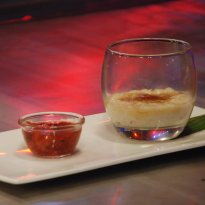 Phirni Brulee with Strawberry Granita