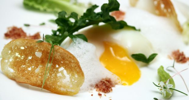 Slow Poached Egg with Bacon Dust & Parmesan Foam