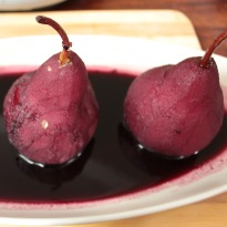 Boozy Pears in Spiced Red Wine