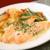 Recipe of Poached Salmon with Prawns