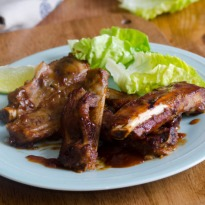 Recipe of Pork Ribs with Asparagus and Lemony Milk Mushrooms