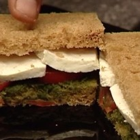 Tomato, Paneer and Mint Chutney Sandwich