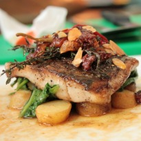 Seabass Fillets In Provence Style with Steamed Potatoes and Wilted Spinach Recipe