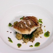 Sea Bream with Three Seed Crunch, Warm Potato Salad and Wilted Spinach