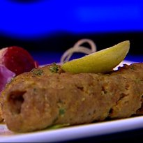 Seekh Kebab with Seb Pyaaz ki Chaat