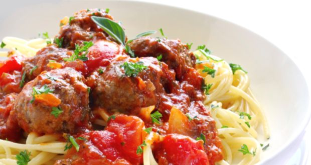 Spaghetti with Lamb Meatballs in Tomato Sauce