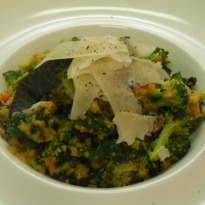 Spinach and Laal Math Broken Wheat Pilaf