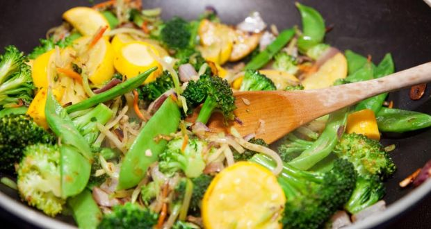 Stir Fried Greens With Coconut Dip