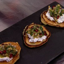 Sweetcorn Cakes with Mango Salsa and Herbed Hung Curd