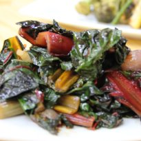 Swiss chard tossed in with ginger, baby onions, garlic and chili paste ...
