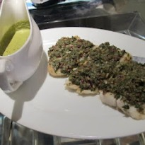 Fish Fillets with Walnut Parsley Crust and Warm Parsley Sauce
