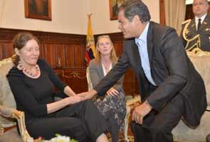 Julian Assange's mother meets Ecuador leader