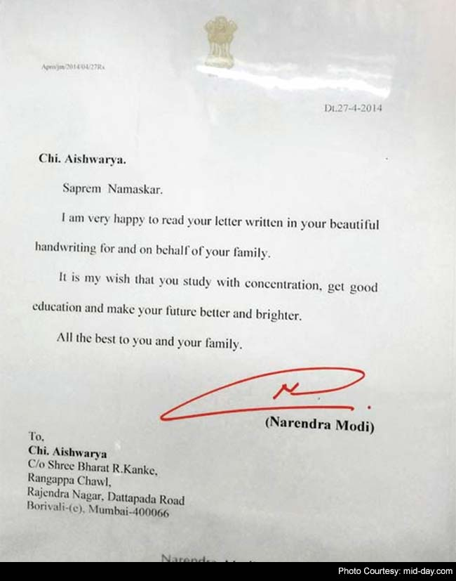 Pm Replies To Mumbai Hsc Student Praising Her Handwritten Letters