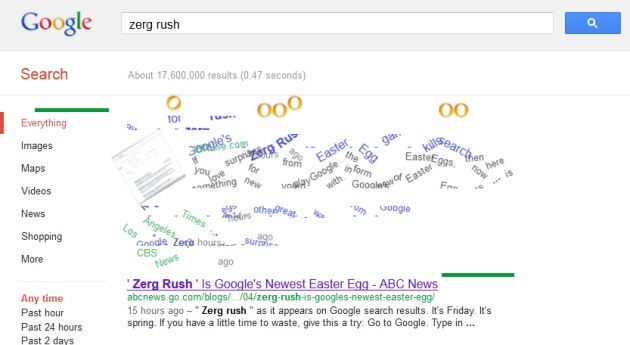 zerg rush easter egg eats your google search results technology news