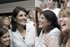 Nikki  Haley won the Republican nomination for governor of South Carolina on  Tuesday, a commanding victory that elevates her to become one of the  leading faces of the national Republican Party and places her within one  step of being elected this fall as the state's first female governor.  She would also become the first member of a racial minority to be  governor of South Carolina overcoming allegations about infidelity in  her marriage, ethnic slurs and questions about her religious  background.