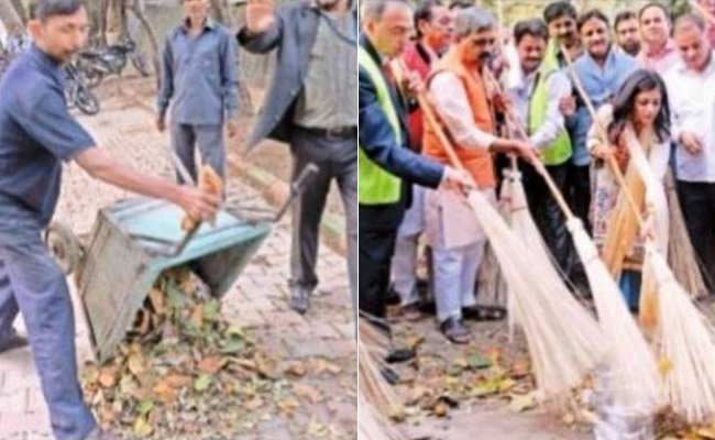 Delhi BJP chief Satish Upadhyay and ex-AAP leader Shazia Ilmi at a cleanliness drive in New Delhi