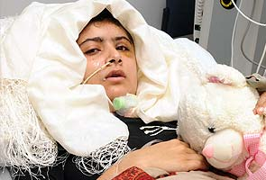 14-year-old Pakistani shooting victim Malala Yousafzai is able to stand with help